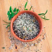 Herb, Lemon and Sea Salt mixed together to make a delicous seasoning.  Shallow dof with extremely sharp focus.